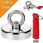 Uolor 250KG Haftkraft Neodym Ösenmagnet Magnete mit Seil , N52 Super Stark Magnet Perfekt zum Magnet Angel Magnetfischen...