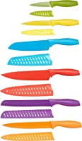AmazonBasics 6 Stainless-Steel Colored Knives Set with Knife Covers