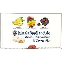 asiafoodland - Mochi Box - 24 Mochis - Banane / Mango / Kakao - original mit Schokolade gefüllte Reiskuchen, 1er Pack (1…