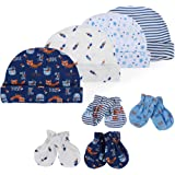 Lictin Bonnets de Naissance et Moufles de Protection - 4pcs Bonnets Coordonnés et 4 Paires Mitaines Scratch de Protection Ant