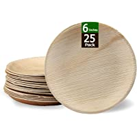 Somani Areca Leaf Plate Disposable Plate Natural and Biodegradable Plate Round Plate 6 inches ( Pack of 25)