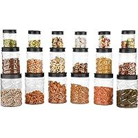 Sky Lexus Celebration 18 Pcs Storage Container Gift Set for Kitchen (300ml x 6 Pcs, 750ml x 6 Pcs, 1400ml x 6 Pcs) (Grey…