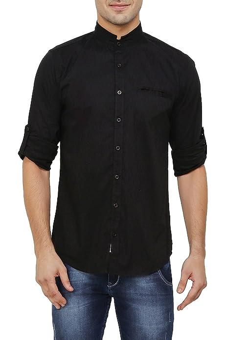 Camisa para hombre con cuello Mao, de algodón y lycra ...