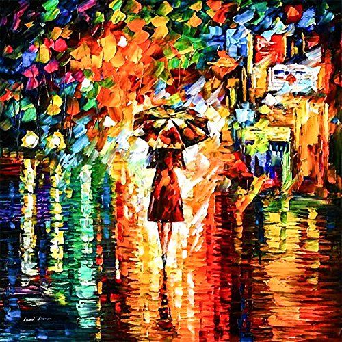 5D Diy Diamond Embroidery Painting Kit / Rhinestone Pasted Painting / Cross Stitch - with Full Square Diamond and Make Tool - Abstract Painting - Girl Using Umbrella (30X30CM)