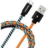 Crossloop PowerPro Designer USB A to Micro USB Charging Cable, 1 Meter (Orange,Blue & Black)