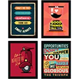 ArtX Paper Motivational Quotes Wall Art, Multicolor, Inspirational, 10.5X13.5 in, Set of 4