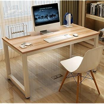 Arbeitstisch Schreibtisch GOTOTOP Computer-Schreibtisch aus Sandelholz mit modernem Stahlrahmen Arbeitszimmer Home-Office f/ür PC und Laptop