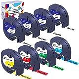 Hehua 8-Pack Ersättning för Dymo Letratag Plast Etikettejp 91221(3-Pack) 16951 91222 91223 91224 91225, Kompatibel med LetraT