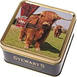 Stewart's Scotland Luxury Scottish Shortbread Rounds - Over 40 Years of Heritage Tartan Collection Highland Cow Design Tin Me