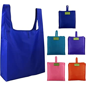 b3f81efbdd Foldable Shopping Bags Reusable Grocery Bags 5 Pack Foldaway Shopper Bags  Large Totes for Grocery Shopping with Pouch