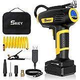 SKEY Compressore Auto, Compressore Aria Portatile 12V 150 PSI, 45L / Min con Batteria Ricaricabile 2200mAh, Controllo preciso