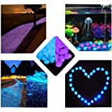 Haichen 200Pcs Pierres Brillent dans Le Noir Lumineux Jardin Galets Rocks pour Passerelle Yard DIY Décorations de Fish Tank Gravier Pierres Bleu et Violet