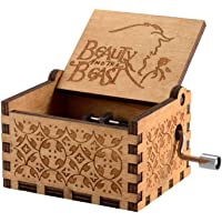 UspotUshop Wooden Hand Crank Music Box Antique Carved Decorative Box Gift for Kids Friends Family Musical Toy Home…