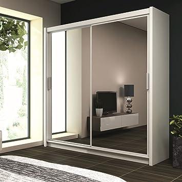 Kleiderschrank PARIS in Weiß, mit Spiegel, Breite: wahlweise 120cm ... | {Kleiderschrank weiß schwarz mit spiegel 70}
