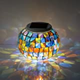 Solar Mosaic Glass Ball Lights, EONSMN Color Changing LED Garden Night Lamp for Indoor Outdoor Bedroom Party Decorations…