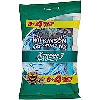 Wilkinson Sword- Rasoio Usa e Getta Xtreme 3 Sensitive - Rasoio a 3 Lame per Uomo - Confezione da 8 Rasoi + 4 in Omaggio