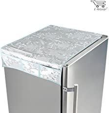 E-Retailer Grey P.V.C With Flower Printed Fridge Top Cover With 6 Utility Pockets