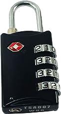 DOCOSS-309-4 Digit Lock - TSA Lock Approved Lock Metal 4 Digit for USA International Number Locks for Luggage Bag Travelling Password Locks Combination Lock Travel Locks Padlock (Black)