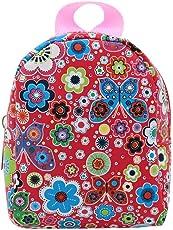 Hemore 18 Zoll Doll Accessoires niedliche Mini-Taschen Rucksack Schultasche für 18 Zoll American Girl Dolls (roter Schmetterling Floral)