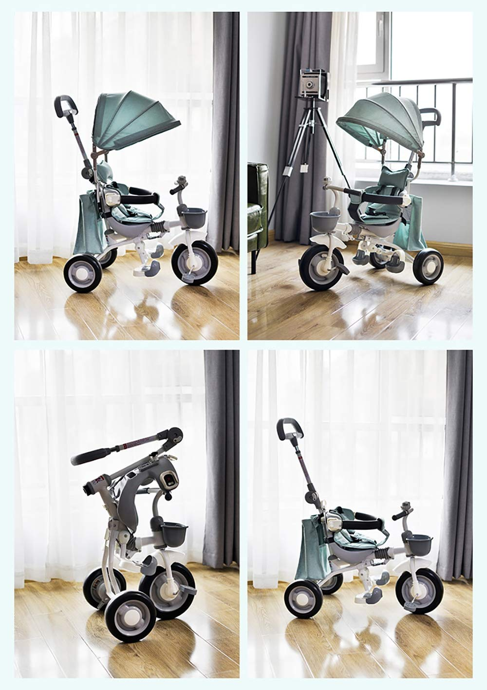 Sunzy Baby hand push tricycle, lightweight folding portable children's tricycle, suitable for children aged 1-4  The entire frame is painted with a paint to effectively prevent the frame from colliding and rusting. High-performance space wheel, SUV-level shock protection, suitable for all kinds of road surfaces, no inflation, no deformation. Linen awning, effectively blocking UV, breathable sunshade 8