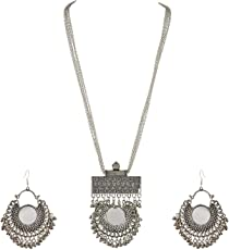 Cardinal Oxidised Afghani Tribal Stylish Necklace Set With Earring For Women/Girls