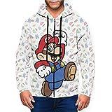 Video Games Super Mario Sudadera con capucha unisex con cremallera completa de manga larga y estampado ligero para hombre.