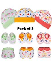 Baybee Baby Mitten Cap and Booty - Infant Unisex Cap/Hat/Topi Soft Cotton Caps Gift Set for New Born Baby Pack of 3