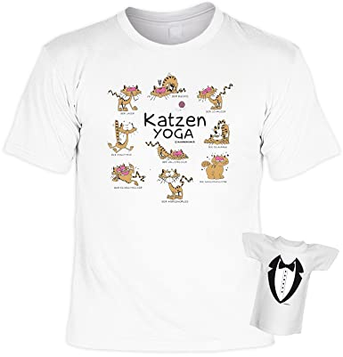 Lustiges Geschenkset Katzen   Sprüche T Shirt : Katzen Yoga     Katzenbesitzer Geschenk Set