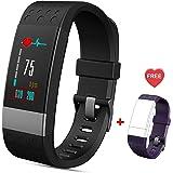 Fitness Armband mit Pulsmesser IP67 Wasserdicht Fitness Tracker Bluetooth Sport Smart Armband Aktivitätstracker mit Schrittzähler Kalorien-und Schlafmonitor für iOS Android Damen Kinder und Männer
