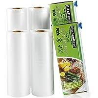KitchenBoss Sac Sous Vide Alimentaire,4 Rouleau 15cmx5M et 20cmx5M,Total 20 M,Rouleaux Sous Vide Alimentaire avec 2…