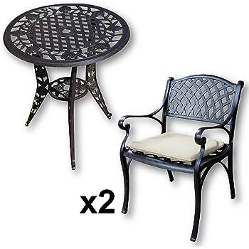 Lazy Susan - Table bistro 60 cm ELLA et 2 chaises de jardin - Salon ...
