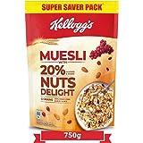 Kellogg's Muesli20%Nuts Delight, Breakfast Cereal , High inIron,High inFibre ,NaturallyCholesterol Free ,750gPack