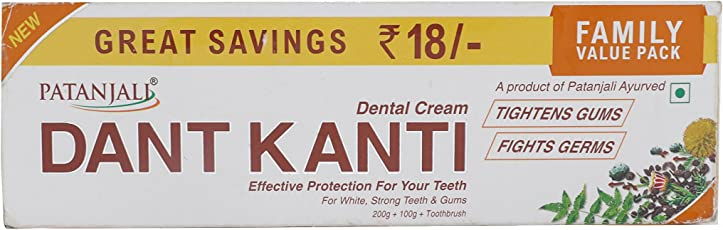 Patanjali Dant Kanti Toothpaste Value Pack - 300 g (200 g x1N and 100 g x1N) + 1N Toothbrush)