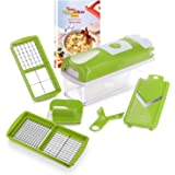 Genius Nicer Dicer Smart (6 Pieces) in Kiwi – Vegetable Cutter for Cubes, Pens, Slides, Strips and Quarters with Recipe Book