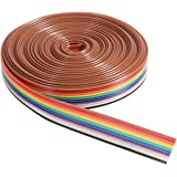 UEETEK 5M 10 Pin Rainbow Color Flat Ribbon IDC Wire Cable