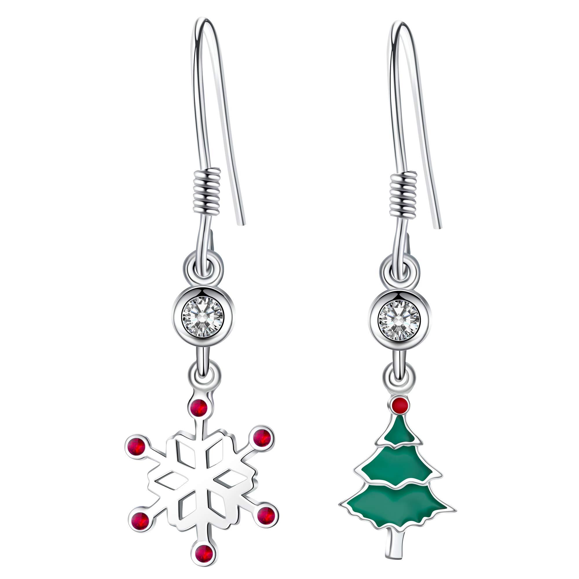 6ce7447b549da Christmas Earrings Studs Dangle 925 Sterling Silver Snowflake Xmas ...
