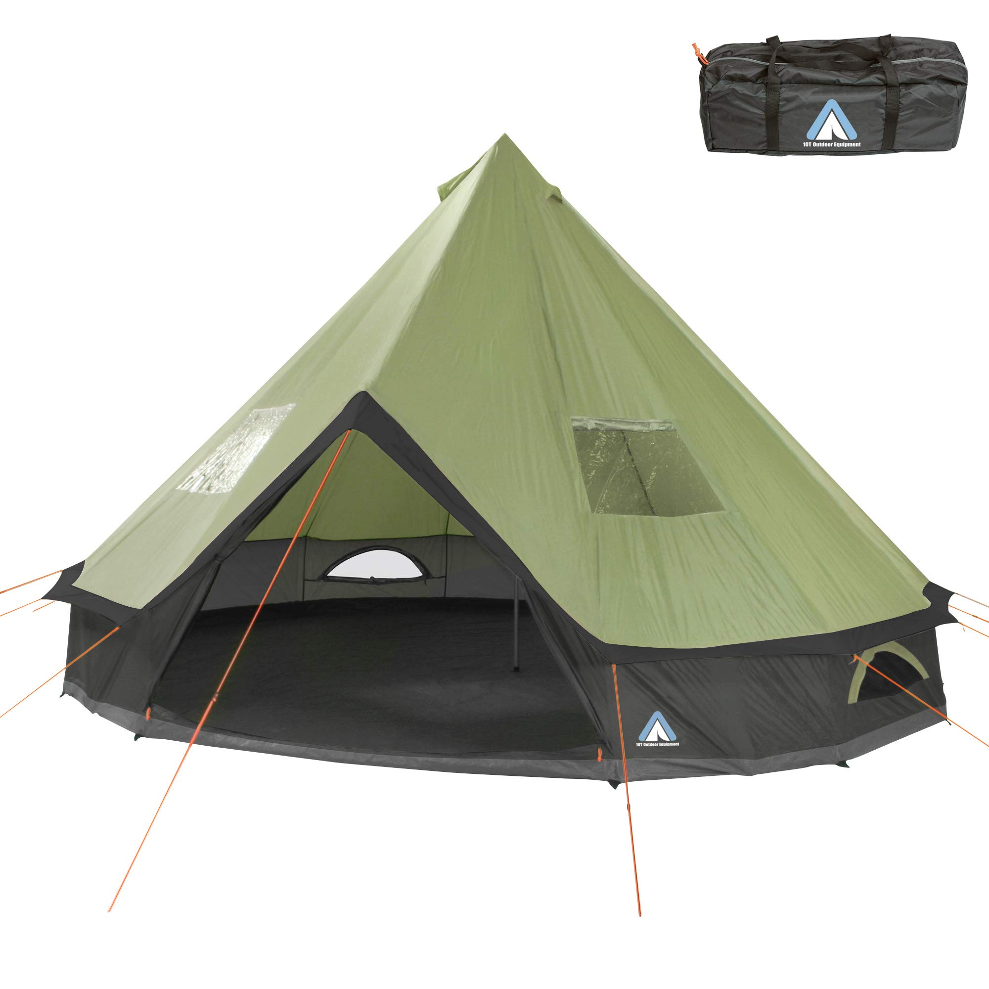 promo code bdea7 0c03c 10T Outdoor Equipment Unisex - Adult Camping Tent Mojave 500 Beechnut XXL  Teepee Tent Waterproof 5-10 Man Round Tent Indian Tent Diameter 5m Green
