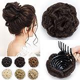 TESS Haargummi Haarteil Dutt mit Haaren Gewellt Haarknoten Hochsteckfrisuren günstig für Damen Dunkelbraun