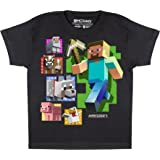 Popgear Minecraft Steve and Animals Boys T-Shirt Black Camiseta para Niños