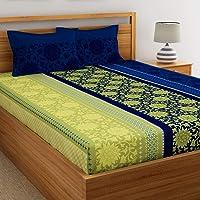 Dreamscape 100% Cotton Double bedsheets with 2 Pillow Covers Cotton, 144tc Floral Blue bedsheets for Double Bed Cotton…