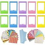 10 STUKS Kleurrijke Mini Fotolijsten Met 40 Vellen Kleurrijke Foto Instant Films Sticker En 1 Stuks Reinigingsdoekje Compatib
