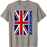 British Flag Tee For Veterans, UK Flag with Stripe of Blue T-Shirt