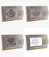 Anmol Indian style combo of round and oval Bindi (Pack of 4)