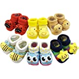 ShopCash Cute Fancy Booties Socks (0-3 Months) for Babies (Assorted Designs)