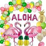 AcnA Hawaii party flamingo-dekoration, tropisk sommar hawaiian temafest dekorationer flickor med flamingo ananas ballonger, l