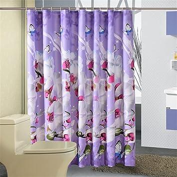 Ylsfwsry Bad Vorhang Wasserdicht Dusch Polyester Stoff Wasserdicht Home Bad  Vorhnge Orchidee Lila Bad Crutain Fr.