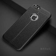Crombie Auto Focus Shock Proof Leather Pattern Armor Soft Back Case Cover For Apple iPhone 6/6S - (Black)