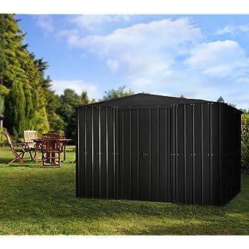 Globel Industries Metall Garten Gerätehaus Gartenhaus 10x8 anthrazit // 295x237x203 cm (BxTxH) // 7m² // Gerätehaus Metall Satteldach
