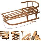 Rawstyle Trineo de madera con respaldo y cuerda para niños y adultos, 90 cm