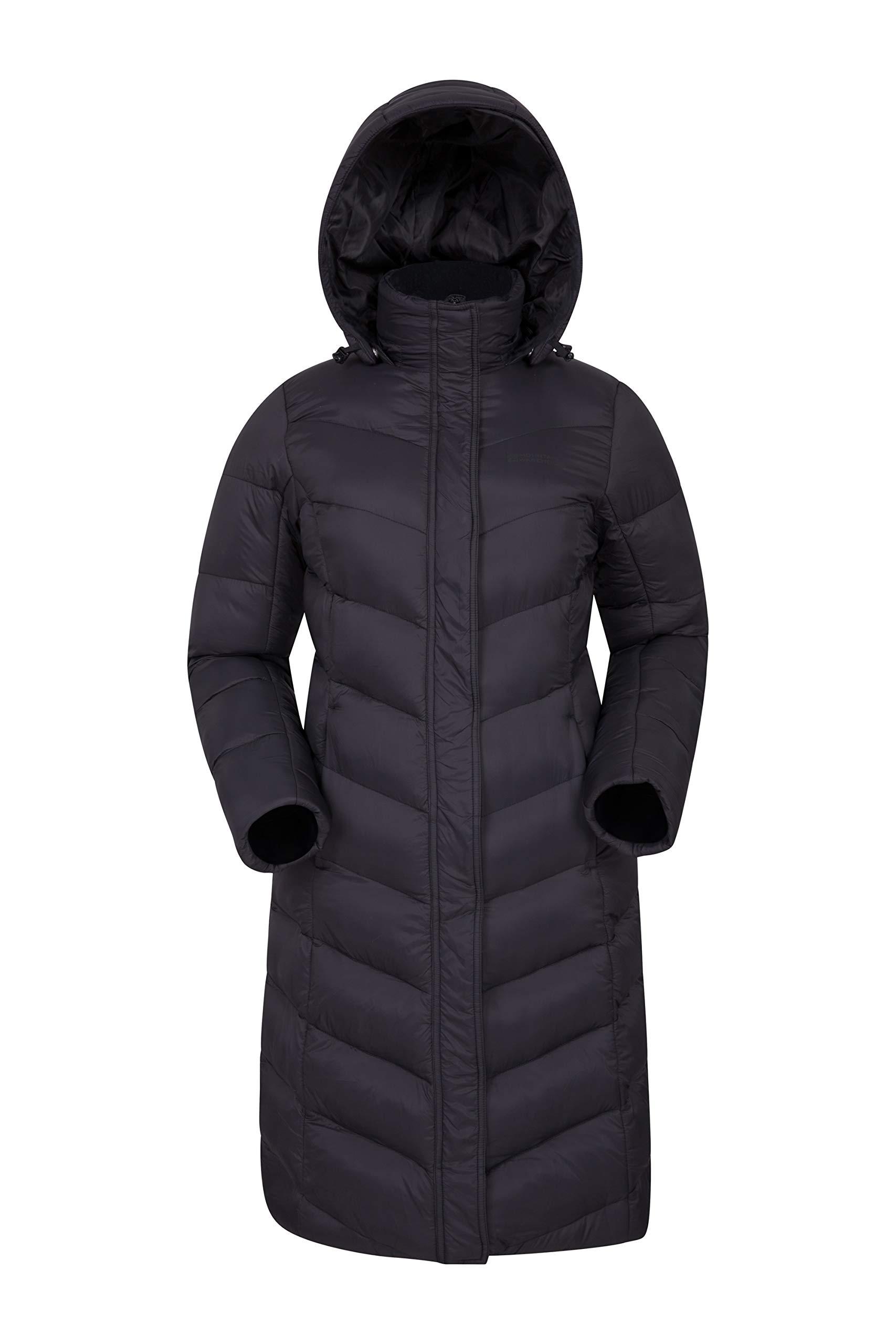 71iMofI80mL - Mountain Warehouse Alexa Womens Padded Jacket - Water Resistant, Lightweight, Storm Flap, Adjustable Hoodie, Pockets…